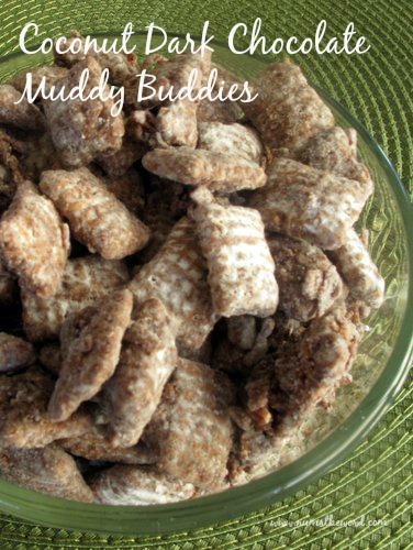 Coconut Dark Chocolate Muddy Buddies