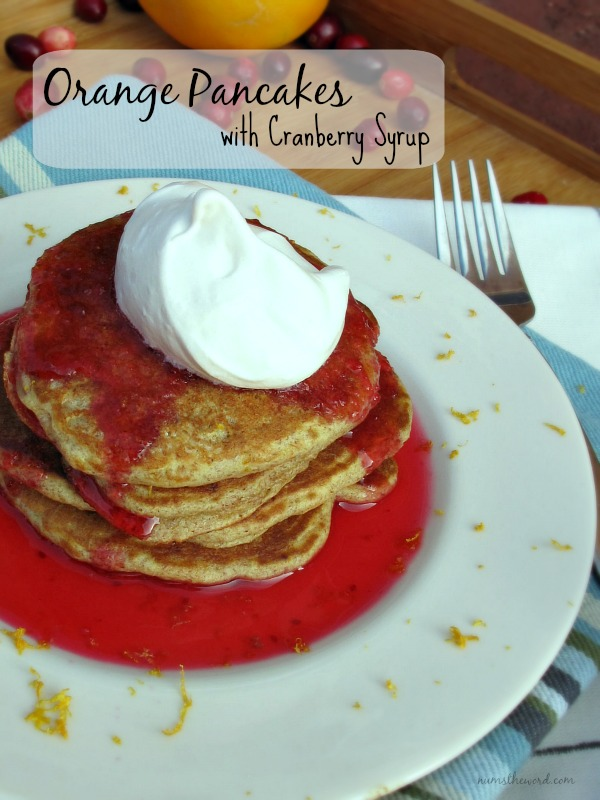 Orange Pancakes with Cranberry Syrup